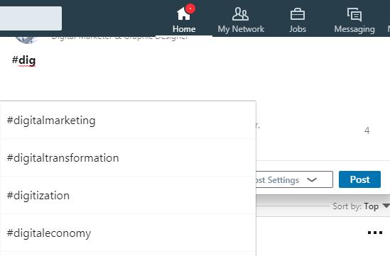 Suggestion Hashtag LinkedIn
