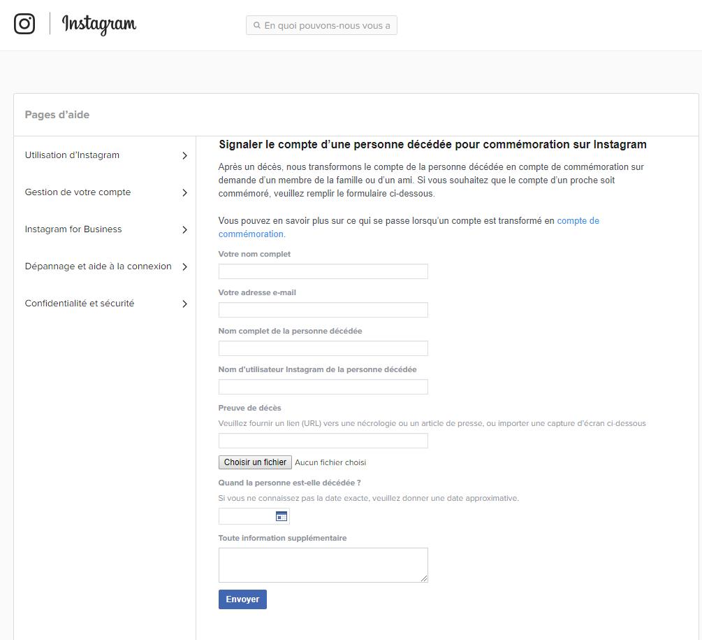 Signaler le compte d'une personne décédée pour commémoration sur Instagram